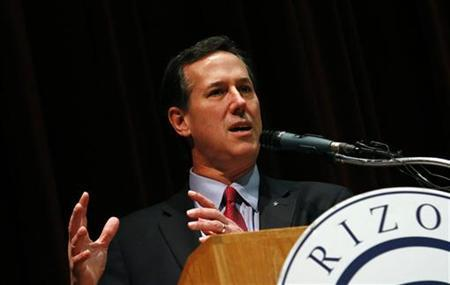 U.S. Republican presidential candidate and former Pennsylvania Senator Rick Santorum addresses the Maricopa County Lincoln Day Luncheon in Phoenix, Arizona February 21, 2012. REUTERS/Joshua Lott