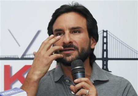 Bollywood actor Saif Ali Khan speaks during the unveiling ceremony of the music album for his movie ''Love Aaj Kal'' (Love Nowadays) in Mumbai June 27, 2009. REUTERS/Manav Manglani/Files