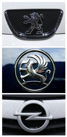 The car logos of (top to bottom) Peugeot, Vauxhall and Opel are seen in this February 22, 2012 combination of file photographs. Peugeot is in talks with General Motors over collaboration with the U.S. car maker's ailing European operations Opel and Vauxhall that could cut costs for all three in a car market that is again under pressure from a stagnant economy. REUTERS/Denis Balibouse/Stringer/Ina Fassbender/Files (TRANSPORT BUSINESS)