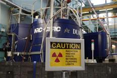 A sign is seen in front of a neutron spectrometer used for fundamental scientific research at the Atomic Energy Canada Limited (AECL) Chalk River nuclear facility during a media tour in Chalk River, Ontario. REUTERS/Chris Wattie