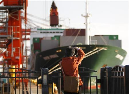 A man takes photographs of a container ship at a port in Tokyo January 25, 2012.   REUTERS/Toru Hanai