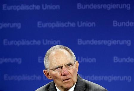 Germany's Finance Minister Wolfgang Schaeuble holds a news conference after a Eurogroup meeting in Brussels February 21, 2012.    REUTERS/Yves Herman