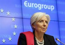IMF Managing Director Christine Lagarde attends a news conference after a Eurogroup meeting in Brussels February 21, 2012.   REUTERS/Yves Herman