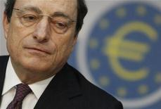 The European Central Bank (ECB) President Mario Draghi speaks during the monthly news conference in Frankfurt, February 9, 2012. REUTERS/Alex Domanski