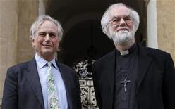 "The Archbishop of Cantebury Rowan Williams (R) and atheist scholar Richard Dawkins pose for a photograph outside Clarendon House at Oxford University, before their debate in the Sheldonian theatre in Oxford, central England, February 23, 2012. The name of the debate is ""The Nature of Human Beings and the Question of their Ultimate Origin"".  REUTERS/Andrew Winning"