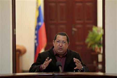Venezuela's President Hugo Chavez speaks during the Council of Ministers in Ciudad Bolivar in the southern state of Bolivar February 15, 2012. REUTERS/Miraflores Palace/Handout