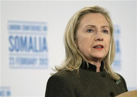 U.S. Secretary of State Hillary Clinton speaks at a news conference after the London Conference on Somalia in London February 23, 2012.   REUTERS/Jason Reed