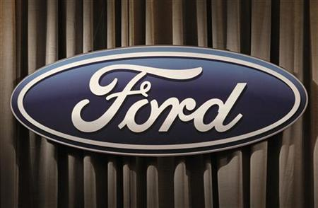 The Ford Motor Company logo is shown during the firm's annual meeting of shareholders in Wilmington, Delaware May 12, 2011. REUTERS/Tim Shaffer