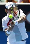 Российский теннисист Игорь Андреев выступает в Мельбурне, 19 января 2011 года. Россиянин Игорь Андреев пробился в четвертьфинал теннисного турнира Buenos Aires Open, проходящего в Аргентине. REUTERS/Mick Tsikas
