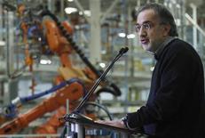 Sergio Marchionne, AD di Fiat e Chrysler, durante una conferenza stampa a inizio febbraio a Belvidere, Illinois. REUTERS/Frank Polich