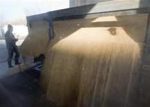 Рабочий стоит перед комбаином, сгружающим зерно под Астаной, 11 октября 2011 года. Казахстан, крупнейший производитель зерна в Центральной Азии, до конца этого года планирует создать единую зерновую компанию, чтобы более эффективно решать инфраструктурные проблемы, сказал ответственный секретарь Минсельхоза Евгений Аман. REUTERS/Shamil Zhumatov