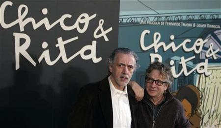Oscar-winning Spanish film director Fernando Trueba (L) and Spain's most famous and successful designer Javier Mariscal pose during a photocall to promote their animated feature-length film ''Chico & Rita'' in Madrid February 21, 2011. REUTERS/Sergio Perez
