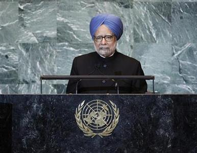 India's Prime Minister Manmohan Singh addresses the 66th United Nations General Assembly at the U.N. headquarters in New York September 24, 2011. REUTERS/Chip East