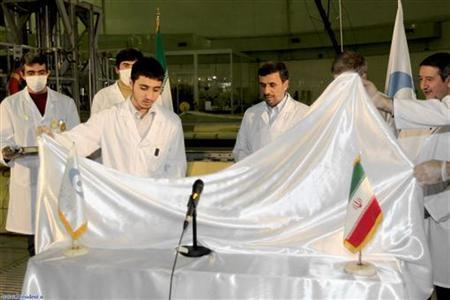 Iran's President Mahmoud Ahmadinejad attends an unveiling ceremony of new nuclear projects in Tehran, February 15, 2012. REUTERS/President.ir/Handout