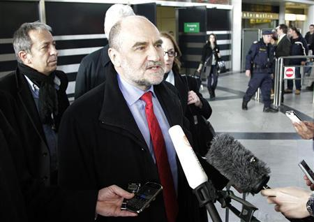 Herman Nackaerts, head of a delegation of the International Atomic Energy Agency (IAEA), speaks to media at the airport in Vienna after arrival from Iran February 22, 2012. REUTERS/Herwig Prammer