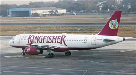 A Kingfisher Airlines aircraft taxis on the tarmac at Mumbai's domestic airport February 21, 2012. REUTERS/Vivek Prakash
