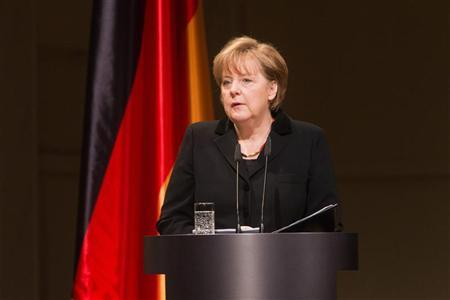 German Chancellor Angela Merkel gives a speech during a memorial ceremony for the victims of neo-Nazi violence at the Schauspielhaus concert hall in Berlin February 23 , 2012. REUTERS/ Michael Kappeler/Pool