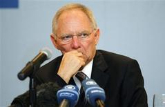 German Finance Minister Wolfgang Schaeuble attends a meeting with media as part of Group of Twenty (G20) leading economies' finance ministers and central bankers in Mexico City February 25, 2012. REUTERS/Tomas Bravo