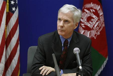 U.S ambassador to Afghanistan Ryan Crocker speaks during a news conference at the U.S. Embassy in Kabul, July 27, 2011.  REUTERS/Mohammad Ismail