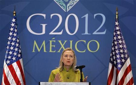 U.S. Secretary of State Hillary Clinton speaks at a news conference at the end of the G20 foreign ministers summit in Los Cabos, February 20, 2012. REUTERS/Charles Dharapak/Pool (MEXICO - Tags: POLITICS)