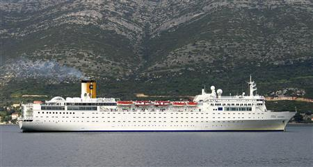 Costa Allegra crusier is seen in this undated photo in Italy. A liner owned by the same company as the Costa Concordia, which ran aground off Italy last month, sent out a distress signal in the Indian Ocean on Monday after a fire in the engine room left it without power, the company said. Costa Cruises said the fire on the Costa Allegra had been put out and no passengers were hurt. REUTERS/Stringer/Files
