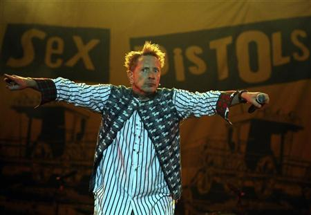 The Sex Pistols lead singer John Lydon, also known as Johnny Rotten, performs at the Azkena Rock Festival in Vitoria September 5, 2008. REUTERS/Vincent West