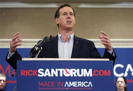 Rick Santorum addresses supporters during a campaign stop in Lansing, Michigan February 27, 2012. REUTERS/Al Goldis