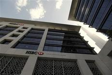 An HSBC bank branch is seen near the Burj Khalifa tower in Dubai, February 5, 2012. REUTERS/Jumana El Heloueh
