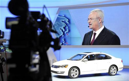 Dr. Martin Winterkorn, Volkswagen chairman of the board, introduces the 2013 VW Passat on the first press preview day for the North American International Auto Show in Detroit, Michigan, January 9, 2012.   REUTERS/Mike Cassese