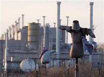 Чучело стоит в поле около украинской газовой станции под Одессой, 13 января 2009 года. Лисичанский НПЗ, крупнейший на Украине по объёму переработки, с 1 марта будет остановлен на ремонт, сказал Дидье Казимиро, глава украинского дивизиона российско-британской ТНК-ВР, которой принадлежит завод. REUTERS/Gleb Garanich