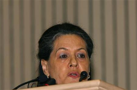Congress party leader Sonia Gandhi speaks during the national conference of Confederation of Indian Industry (CII) in New Delhi April 29, 2008. REUTERS/B Mathur/Files