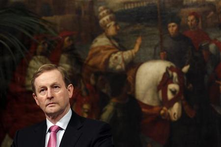 Ireland's Prime Minister Enda Kenny looks during a meeting with his Italian counterpart Mario Monti at the Chigi Palace in Rome February 24, 2012. REUTERS/Alessandro Bianchi (ITALY - Tags: POLITICS)