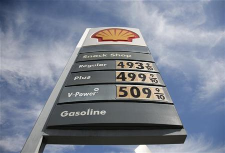 Prices rise above $5 for a gallon of premium gas at a Shell station at Olympic Boulevard and Fairfax Avenue in Los Angeles, California February 21, 2012. REUTERS/Jason Redmond