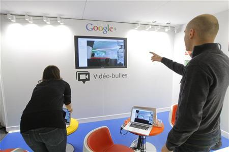 A video hangouts stand is pictured at the new headquarters of Google France before its official inauguration in Paris December 6, 2011.   REUTERS/Jacques Brinon/Pool