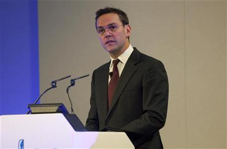James Murdoch speaks at the BSkyB Annual General Meeting at the Queen Elizabeth II Conference Centre in central London November 29, 2011. REUTERS/Timothy Anderson/BSkyB/Handout/Files