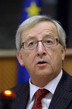 Luxembourg's Prime Minister and Eurogroup chairman Jean-Claude Juncker addresses an interparliamentary committee meeting with national parliaments at the European Parliament in Brussels February 29, 2012. Jean-Claude Juncker, who chairs meetings of euro zone finance ministers, said in a newspaper interview on Wednesday he also favored ''an EU commissioner charged with the task of building up the structure of the Greek economy.''   REUTERS/Eric Vidal (BELGIUM - Tags: POLITICS)
