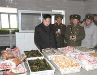 Лидер Северной Кореи Ким Чен Ын рассматривает провиант в военной части номер 842. В среду Северная Корея объявила мораторий на ядерные испытания и пошла на другие уступки, открывающие путь к переговорам со странами, которые обещают Пхеньяну в обмен на отказ от ядерного оружия разные преференции, включая еду.  REUTERS/KCNA (NORTH KOREA) THIS IMAGE HAS BEEN SUPPLIED BY A THIRD PARTY. IT IS DISTRIBUTED, EXACTLY AS RECEIVED BY REUTERS, AS A SERVICE TO CLIENTS. NO THIRD PARTY SALES. NOT FOR USE BY REUTERS THIRD PARTY DISTRIBUTORS