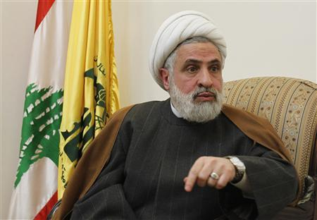 Lebanon's Hezbollah deputy Sheikh Naim Qassem speaks during an interview with Reuters at his office in Beirut's suburbs, February 28, 2012. An Israeli attack on Iran's nuclear programme would set the Middle East ablaze, possibly drag in the United States and unleash a conflict beyond the Jewish state's control, the deputy head of Lebanon's pro-Iranian Hezbollah movement said.  REUTERS/Sharif Karim