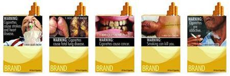 Combination picture of new graphic cigarette packages, released by the U.S. Food and Drug Administration June 21, 2011, shows a varied collection of  a man on a ventilator, diseased lungs and dead bodies were among the graphic images for revamped U.S. tobacco labels, unveiled by health officials who hope the warnings will help smokers quit. Proposed in November under a law that put the multibillion-dollar tobacco industry under the control of the U.S. Food and Drug Administration, the new labels must be on cigarette packages and in advertisements no later than September 2012. They represent the first change in cigarette warnings in 25 years.   REUTERS/U.S. Food and Drug Administration/Handout