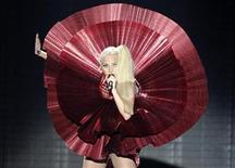 Lady Gaga performs at the MTV Europe Music Awards show in Belfast November 6, 2011.                 REUTERS/Cathal McNaughton