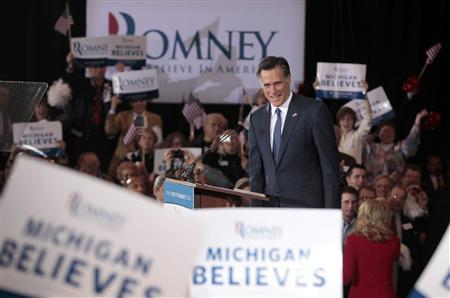 Mitt Romney addresses supporters at his Michigan primary night rally in Novi, Michigan, February 28, 2012.  REUTERS/Rebecca Cook
