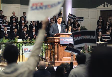 Republican presidential candidate Rick Santorum speaks during a rally at Temple Baptist in Powell, Tennessee, February 29, 2012. REUTERS/Billy Weeks