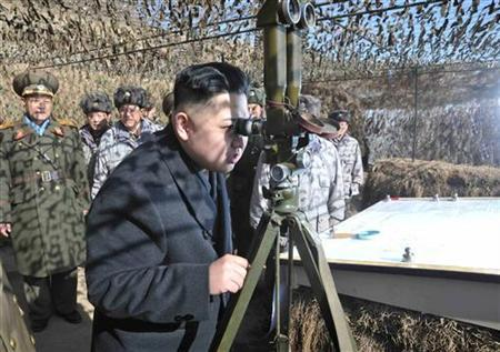 North Korean leader Kim Jong-Un (front) visits a unit under the command of the Korean People's Army 4th Corps stationed in the southwestern sector of North Korea, in this undated picture released by the North's KCNA in Pyongyang February 26, 2012. KCNA said Kim inspected the 1st and 4th Battalions under the KPA Unit 403 stationed in the forefront area. REUTERS/KCNA