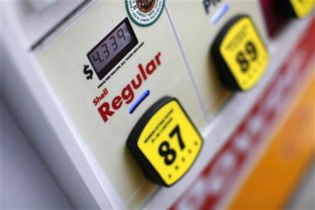 The current price for regular gas is shown at a pump in Encinitasa, California February 28, 2012.  REUTERS/ Mike Blake