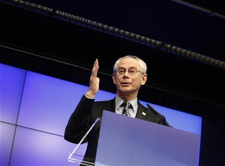European Council President Herman Van Rompuy holds a news conference at the end of a European Union leaders summit in Brussels March 2, 2012. REUTERS/Sebastien Pirlet