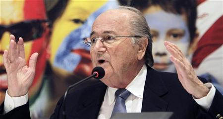 FIFA President Sepp Blatter speaks during a news conference at the end of the extraordinary congress of the CONMEBOL in Luque, near Asuncion, February 5, 2012.  REUTERS/Jorge Adorno