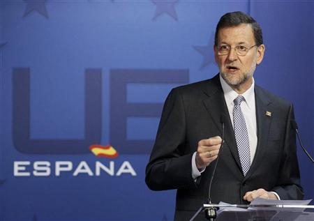 Spain's Prime Minister Mariano Rajoy holds a news conference at the end of a European Union leaders summit in Brussels March 2, 2012 . REUTERS/Yves Herman
