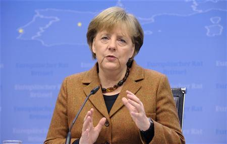 Germany's Chancellor Angela Merkel addresses a news conference at the end of a European Union leaders summit in Brussels March 2, 2012. REUTERS/Eric Vidal
