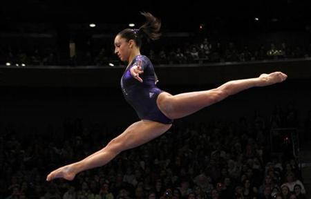 Jordyn Wieber of the U.S. performs on the balance beam during the AT&T American Cup gymnastics competition at New York's Madison Square Garden, March 3, 2012.   REUTERS/Mike Segar