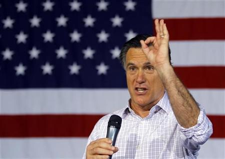 Republican presidential candidate and former Massachusetts Governor Mitt Romney speaks at a town hall meeting campaign stop at USAeroteam in Dayton, Ohio March 3, 2012. REUTERS/Brian Snyder